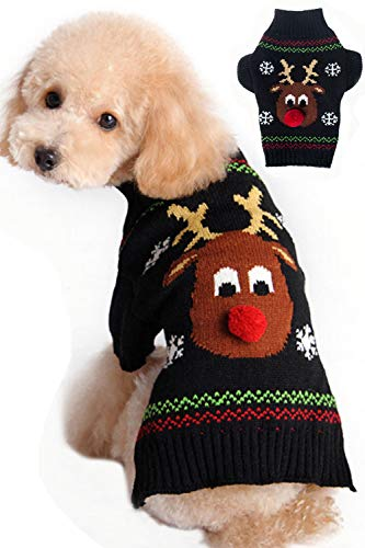 BOBIBI Dog Sweater for Christmas Cartoon Reindeer Pet Cat Winter Knitwear Warm Clothes Medium