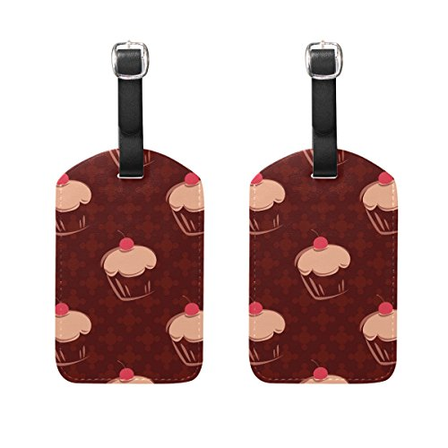 COOSUN Cherry Cupcakes Polka Dots On Chocolate Brown Back Luggage Tags Travel Labels Tag Name Card Holder for Baggage Suitcase Bag Backpacks, 2 PCS