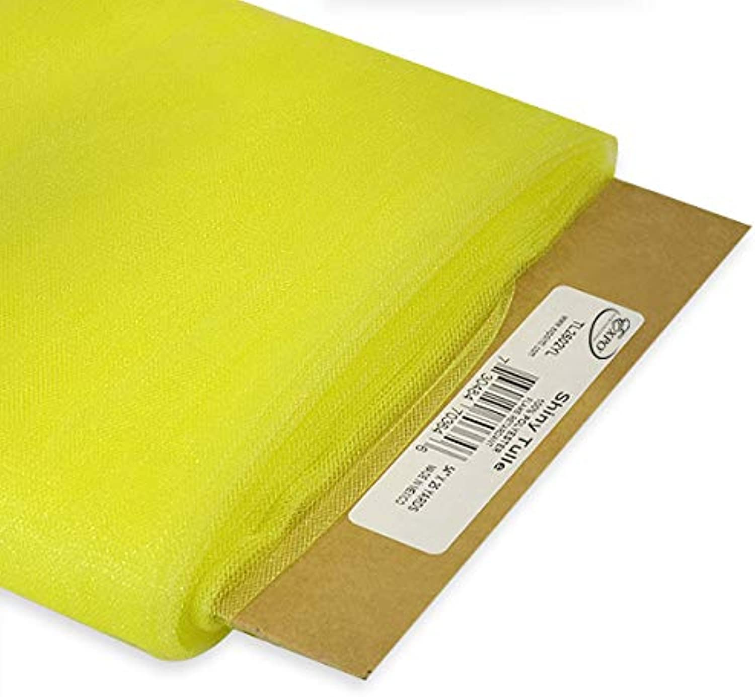 Expo International 54Inch Shiny Polyester Tulle Fabric, Yellow, 54Inch 25Yard