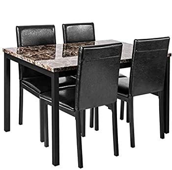 Faux Marble Dining Set for Small Spaces Kitchen 4 Table with Chairs Home Furniture Black