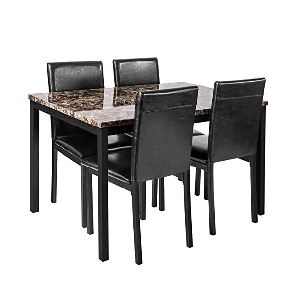 Faux Marble Dining Set for Small Spaces Kitchen 4 Table with Chairs Home Furniture,...