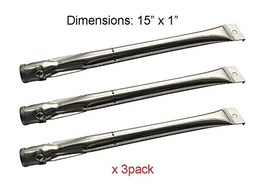 BBQ funland SB6221 (3-pack) Stainless Steel Burner for Charbroil, Grill Master, Nexgrill, Kenmore and Uberhaus Gas Grill Models Burners Grill