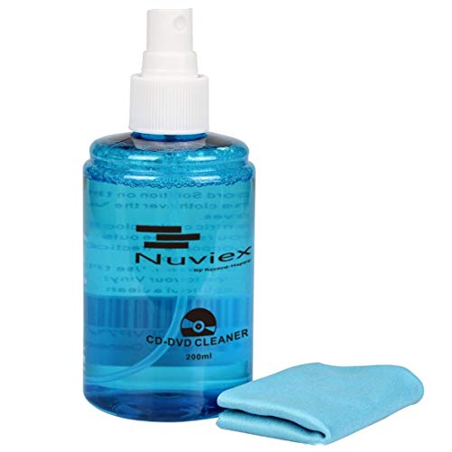 Premium CD Cleaner Solution Spray - Compact Disc CD-DVD Cleaning Fluid with Microfiber Anti-Static Cloth 7oz