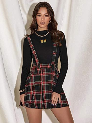 Hermosa Kilt Falda Escocesa Nueva Falda A Cuadros con Tirantes Falda A Cuadros De Encaje Estilo Dulce para Mujer Falda P