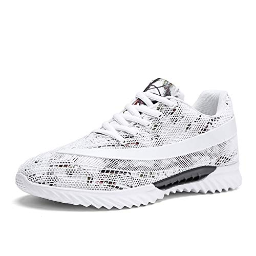 Entrenadores para Hombres Zapatillas de Deporte, Transpirable Zapatos Deportivos para Correr al Aire Libre con Estilo Gimnasio Jogging Caminando Camuflaje Malla Zapatos Atléticos,Blanco,42