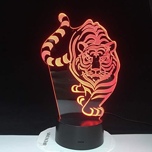 Walking Tiger LED luz de noche lámpara 3D Lampara Control de sensor remoto niño chico bebé regalo decoración del hogar novedad iluminación 3368
