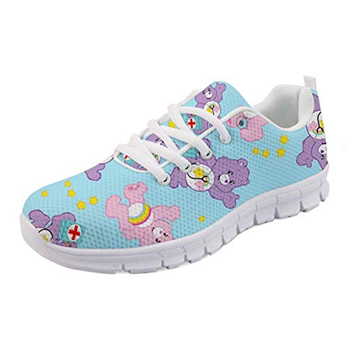 Nopersonality Damen Laufschuhe Turnschuhe Sneaker Atmungsaktiv Sportschuhe Running Gym Casual Krankenschwester Schuhe Prints Cartoon Bear Bär Women Running Shoes Herren Trainers Blau 42 EU