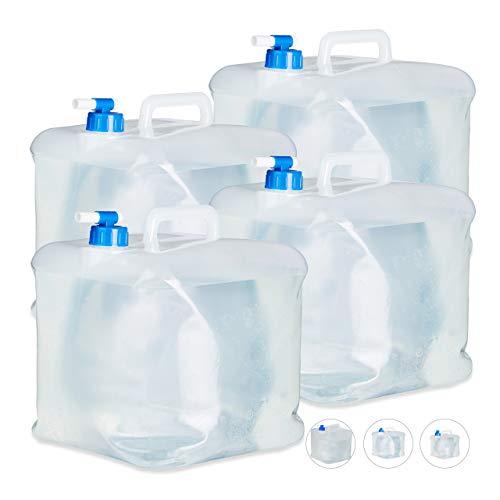 Relaxdays Faltkanister 4er Set, 15 l, Hahn, Schraubdeckel, Griff, Wasserkanister Camping, BPA-frei, transparent/blau
