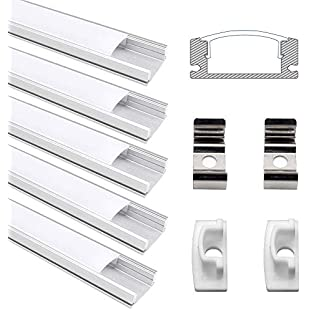 Led Channel, Jirvyuk 5 Pack 0.5m/1.64ft Aluminum Channel for Flex/Hard LED Strip Lights Installations with White Diffuser Cover, End Caps and Metal Mounting Clips(U Shape)