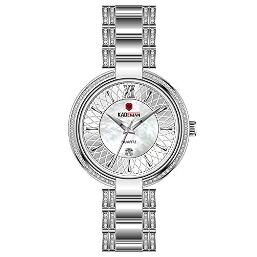 Reloj Rhinestone Señoría, Estuche de Acero Inoxidable, Movimiento Importado, Impermeable Diario, se Puede Dar a la Esposa, Amante, Novia (Color : Silver)