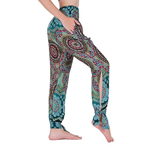 Lofbaz Yoga Pantalones Harem de Cintura Alta para Mujer Boho Joggers Ropa con Bolsillos de Pajarita Tumbonas Casuales Ropa Flor Verde Azulado XL