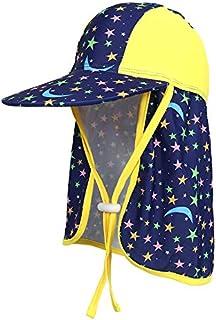 Sunarra Unisex Baby UPF 50+ UV Ray Sun Protection Hat with Neck Flap Summer Fishman Cap Moon & Star Blue + Yellow 3-7 Years