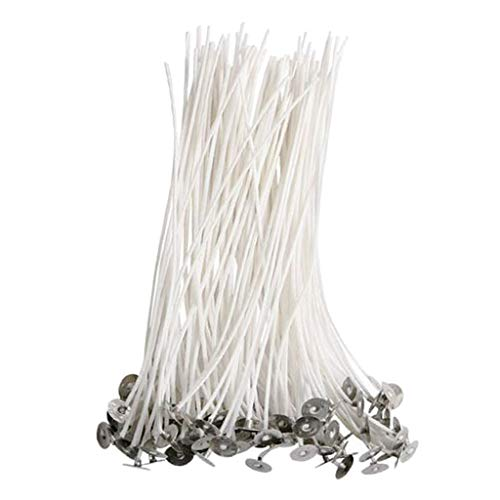 #N/A 100 Pieces 90mm Candle Wicks Pretabbed Pre Waxed with Sustainers Decorative DIY Home Wedding Scented Candle Making Supplies