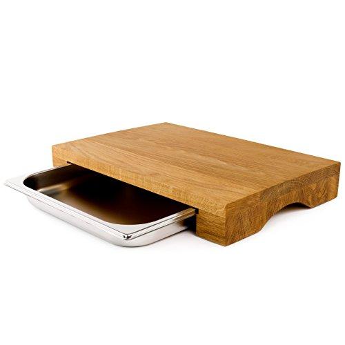 cleenbo® Schneidebrett mit Auffangbehälter Cube Oak Profi Holz Küchenbrett aus geölter Eiche mit Auffangschale (Gastro Edelstahl Auffangwanne) Holzbrett aus Eichenholz Maße: 43 x 29 x 7 cm