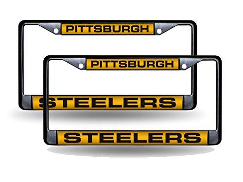 Pittsburgh Steelers NFL Black Metal (2) Laser License Plate Frame Set