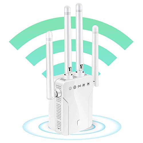 MIQUOO 1200Mbps WiFi Repeater Wireless Signal Booster, 2.4 & 5GHz Dual Band WiFi Extender with Ethernet Port, 4 Antennas 360° Full Coverage, Simple Setup (White)