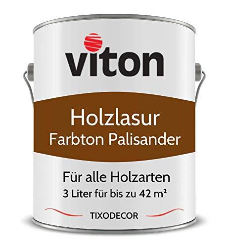 3 Liter Holzlasur von Viton - Farbe Palisander - 3in1 Seidenmatt - Holzschutzlasur, Lasur für Holz - Extra starker Schutz für Innen und Außen - Wetterfest, Atmungsaktiv & UV-beständig - Tixodecor