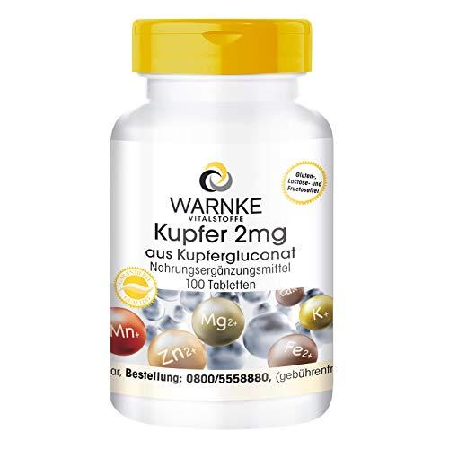 Kupfer 2mg aus Kupfergluconat - vegan - 100 Tabletten