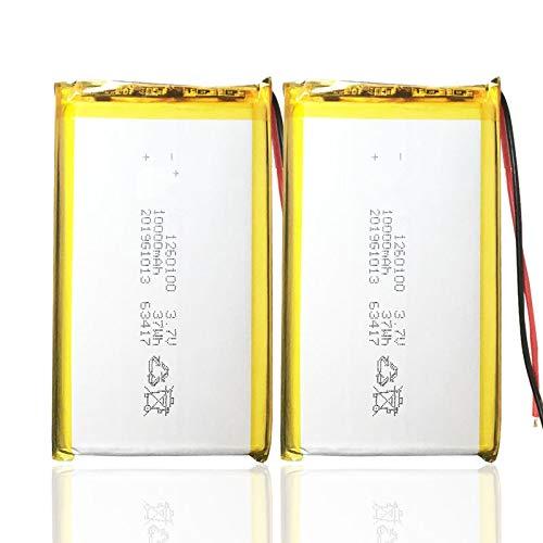 Grehod Batería Lipo Recargable 1260100 10000mah para GPS, Mesa de DVD, cámara de Libro electrónico, Juguetes eléctricos, batería de polímero de Litio 2pcs