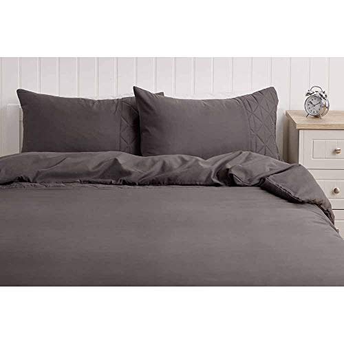 wilko Pinsonic Grey Double Duvet Cover (200 x 200 cm), Grey Double Duvet Set with Matching Pillowcases, 100% Microfibre Bedding