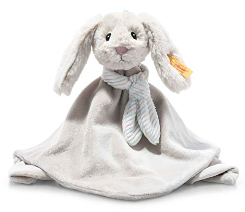 Steiff 242250 Soft Cuddly Friends Hoppie Hase Schmusetuch - 26 cm - Kuscheltier für Babys - hellgrau (242250), grau 96 g