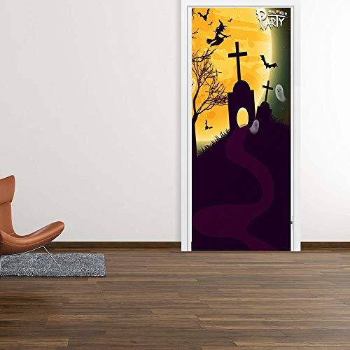 3D Türauf Kleber Tür Wandaufkleber Halloween Grabstein Hexe Grab Aufkleber 3D Simulation Tür Aufkleber