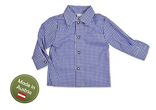 Trachten Hemd Karo Buben Blau Gr.62-92 Baby Kinder Trachtenhemd