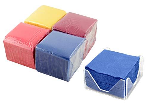Hostelnovo – 400 unidades servilletas de papel 100 ud + Servilletero de metacrilato diseño exclusivo - Colores surtidos - Especial cocktail - 10x10cm