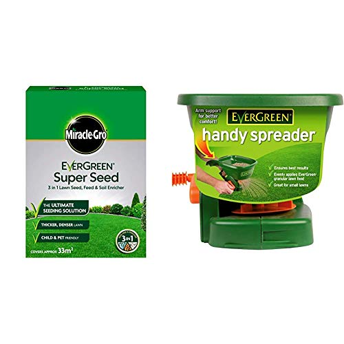 Miracle-GRO EverGreen Super Seed Lawn Seed 1kg - 33m2 & Scotts EverGreen Handy Spreader