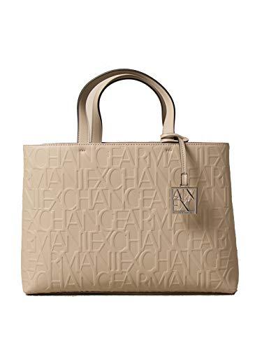 ARMANI EXCHANGE Bolso mujer de piel sintética con logo color beige