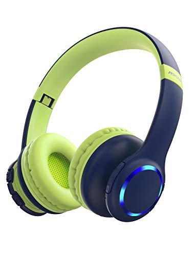 Casque enfant bluetooth, Mpow CH9 Casque d'écoute pour enfants Casque d'écoute stéréo sans fil Bluetooth, réglable pliable, volume limité à 85dB, prise jack AUX 3,5 mm, micro intégré, éclairage LED