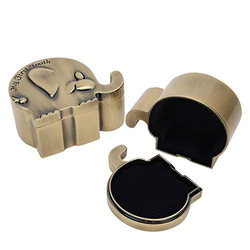 Organizador de joyas, caja de colección de dientes, forma de elefante retro 1 par de metal para anillo, collar, pendiente, pulsera
