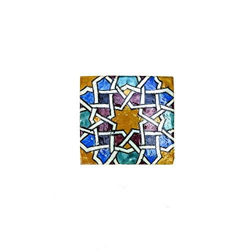 Marokkanische Fliesen, 10 x 10 cm, aus Keramik, handbemalt, 1,4 cm