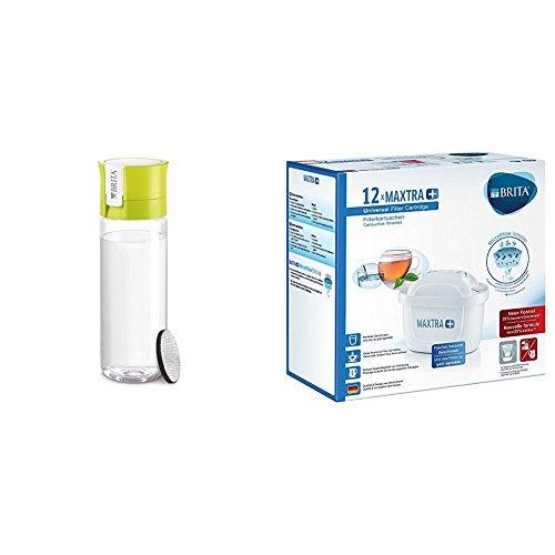 Brita - Botella Fill & GO con filtro, 0,6 L color lima + Filtro MAXTRA+ 100 l, paquete de 12 meses
