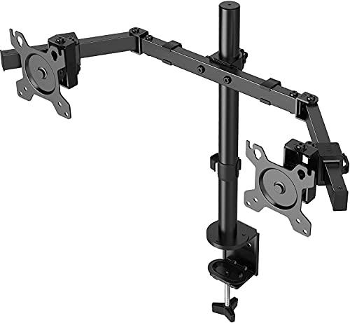 """ErGear 13""""- 32"""" Supporto Monitor Doppio con Molla a Gas Movimento Completo Design Ergonomico Braccio Monitor da Scrivania Inclinazione ±45° Girevole 180° Rotazione 360° Peso Max 9 kg VESA 100/75mm"""