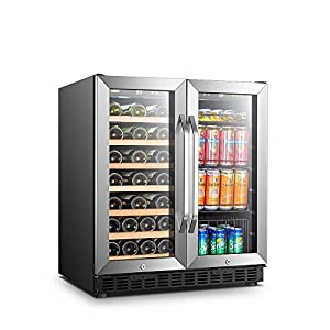 Lanbo 30 Inch Built-in Dual Zone Wine and Beverage Cooler, 33 Bottle and...