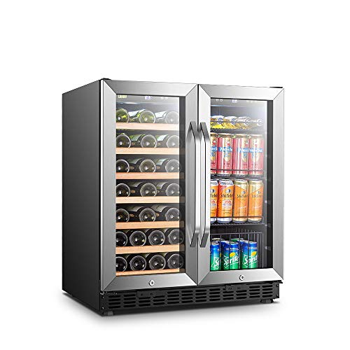 Lanbo 30 Inch Built-in Dual Zone Wine and Beverage Cooler, 33 Bottle and 70 Can…