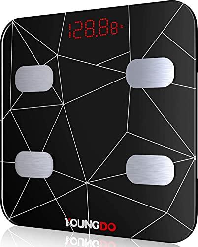YOUNGDO Pèse Personne Impédancemètre, 30*30cm Grande Taille , Balance Connectée Charge USB, 19 Données Corporelles (IMC/Taux de Graisse/Poids Osseux, etc) Pèse Personne Connecté pour 999 Utilisateurs