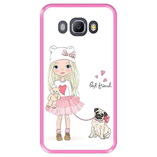 Hapdey Funda Rosa para [ Samsung Galaxy J5 2016 ] diseño [ Mejor Amigo, Best Friend ] Carcasa Silicona Flexible TPU