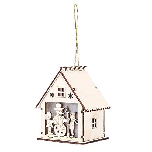 xmansky Weihnachtslicht, LED-Licht, leuchtende Holzhaus, Christbaumschmuck Ornamente, Weihnachtsschmuck, niedliche Kunst Holzhaus Weihnachtsdekoration Licht Kabine Weihnachtsdekoration Anhänger