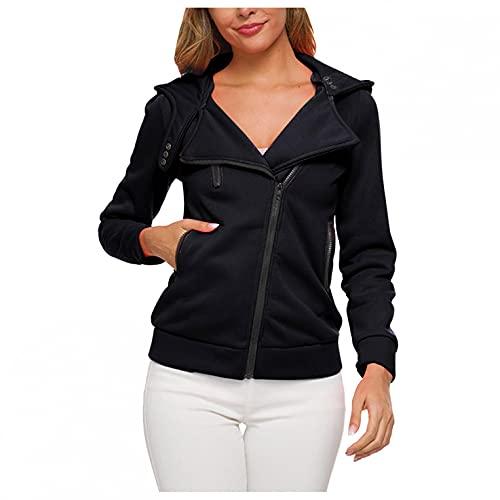 BaZhaHei Damen Plüsch Pullover Casual Langarm Reißverschluss Top Tasche Mantel Übergangsjacke Frühlingsjacke Dünne Softshell Leicht Jacke Outwear Sweatshirtjacke Freizeitjacke