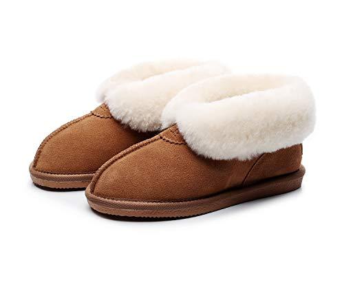 DEFO Australia - Zapatillas de Andar por casa Estilo Botines Unisex, Color castaña (Chestnut), Piel Genuina Australiana (43 EU, Castaña (Chestnut))