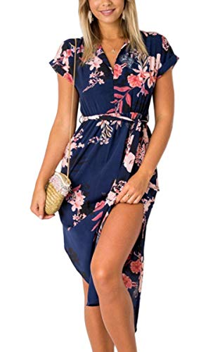 ECOWISH Womens Dresses Summer Casual V-Neck Floral Print Geometric Pattern Belted Dress Blue Large