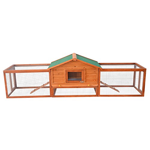 PawHut Wooden Rabbit Hutch Large Pet Habitat House Animal Cage w/Ramp and Run Area 309 x 79 x 86 cm