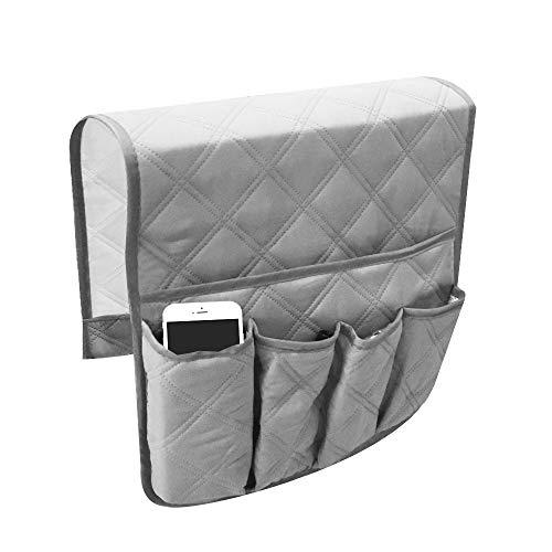 YuamMei Sillón Sofá antideslizante y antideslizante Organizador para reposabrazos de sofá, con 5 bolsillos para teléfono, libro, control remoto de TV (gris)