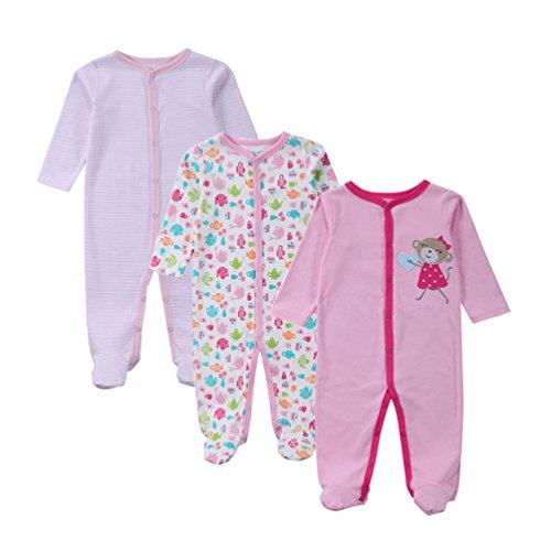 YOUJIA Unisexe Bébé Lot de 3 Grenouillère en Manches Longues Barboteuse Pyjama Rose 7-9M