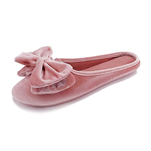 BCTEX COLL Women's Velvet Ballerina Slippers with Memory Foam,Lady's Cute Lightweight Bow House Shoes Non-Slip Indoor Outdoor 7-8 Pink