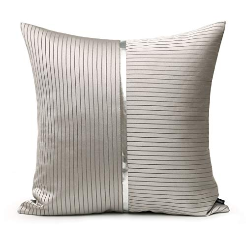 Cushion Covers Striped Splice Bedroom Sofa Decoration Square Pillowcase Gray 45X45Cm With Core