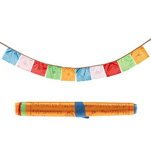 MXMA Blatt/Set aus künstlicher Seide, tibetische Lung-Ta-Banner, buddhistische Gebetsfahnen, Skripturen, religiöse Flaggen, tibetische Gebetsfahnen, 35 x 34 cm