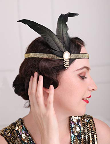 Aimimier 1920s Flapper Peacock Feather Headband with Elastic Band Costume Feather Headpiece Great Gatsby Hair Jewelry for Women and Girls